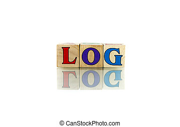 link colorful wooden word block on the white background