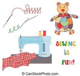 Sewing set with patchwork bear - funny design card