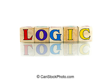 logic colorful wooden word block on the white background