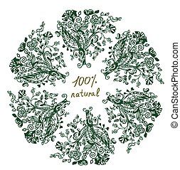 Eco label - floral grafic design for frame