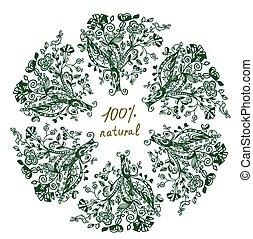 Eco label - floral grafic design for frame