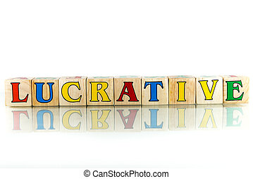 lucrative - lucrative colorful wooden word block on the...