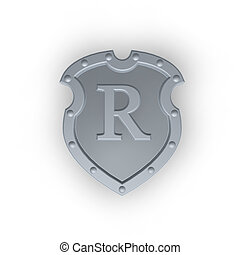 shield with letter R - metal shield with letter R on white...