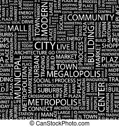 CITY Seamless pattern Word cloud illustration