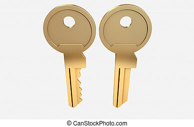 Key Blank And Cut View - A cut brass key and a blank version...