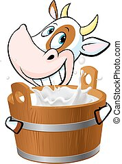Cow holding a pail full of milk - v