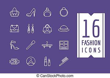 Fashion e-commerce vector icons set. Shopping symbols. Interface elements Stock illustration