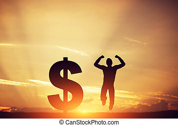 Man jumping for joy next to dollar symbol Winner of lottery...