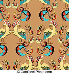 peacocks background - Seamless pattern of beautiful...