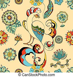 Pattern peacocks - Seamless pattern of beautiful pink magic...
