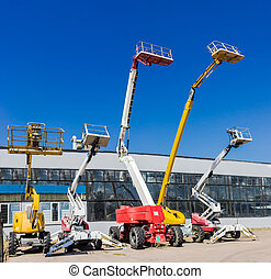 Several various self propelled articulated boom lift -...
