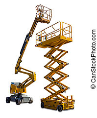 Scissor lift and articulated boom lift - Two types of mobile...