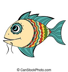 Fish - Zentangle stylized Fish. Hand Drawn doodle vector...
