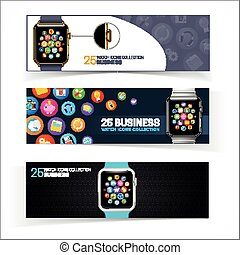 Smart watch banners - Device and UI icons Eps 10 vector...