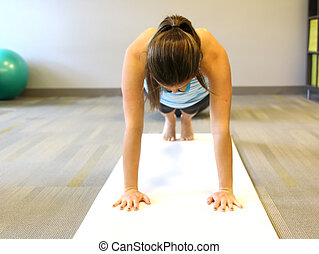 young beautiful female doing yoga