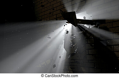 Wall Break Through And Light - A dark side of a wall being...