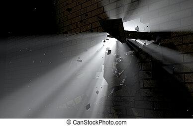 pared, Interrupción, por, y, luz,