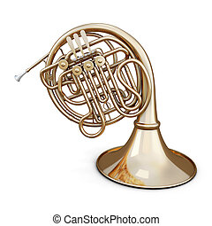 Golden french horn on a white