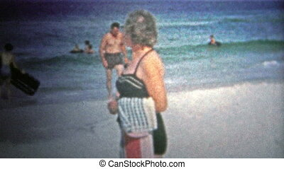 PANAMA CITY, USA - 1959: Woman at beach - Unique vintage 8mm...