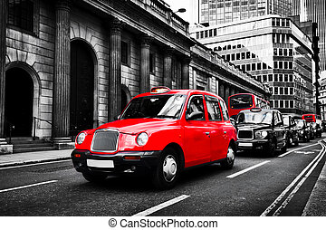 Symbol of London, the UK. Taxi cab known as hackney...
