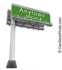 Freeway EXIT Sign anytown - High resolution 3D render of...