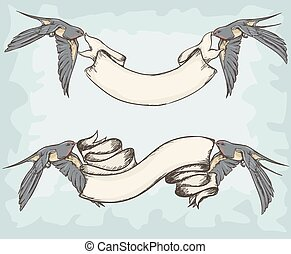 Swallows holding ribbons