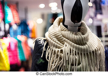 Mannequin in mall center with neckerchief