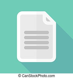 Long shadow document icon - Illustration of a long shadow...