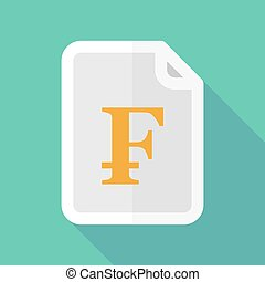 Long shadow document icon with a swiss franc sign -...