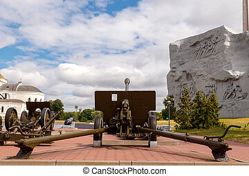 Old Howitzer at the Brest Fortress. Belarus. - Old howitzer...