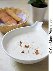 Buttermilk cold soup and bread