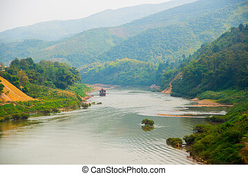 The mountains and river.Laos,the city Nonken.