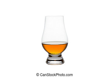 Isolated Whiskey in a Crystal Tasting Glass - Crystal glass...