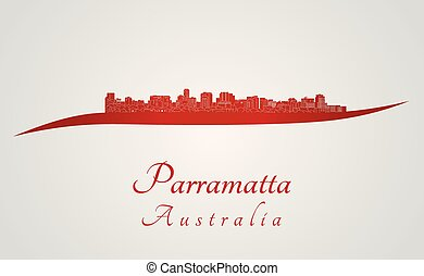 Parramatta skyline in red and gray background in editable...