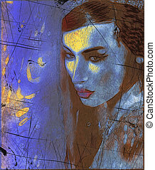 Brunette woman, abstract art - Abstract digital art of...