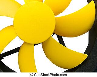 Fan blades of computer case cooler - Yellow plastic fan...