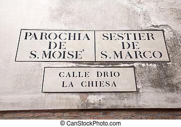 Calle Drio la Chiesa Street Sign, Venice; Italy