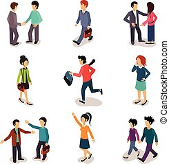 Several People Isometric, Vector - Several people Isometric...