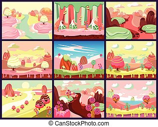 Candy Land Vector - Cartoon fairy tale landscape Candy land...