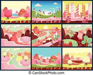 Candy Land Vector - Cartoon fairy tale landscape. Candy land...