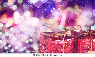 gift box and heart bokeh lights