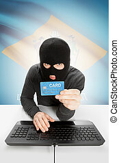 Hacker holding credit card with US state flag on background - Delaware