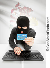 Hacker holding credit card with US state flag on background - Illinois