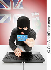 Hacker with credit card in hand and Canadian province flag...