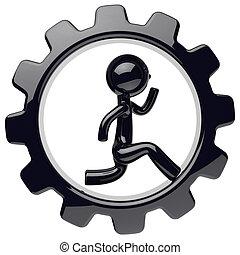 Human man character inside gearwheel black gear wheel icon
