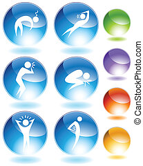 Illness Crystal Icon Set - Illness crystal icon set isolated...
