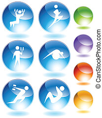 Exercise Crystal Icon Set - Exercise crystal icon set...
