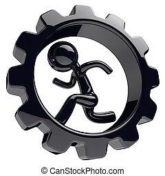 Runner man character inside gearwheel gear wheel black