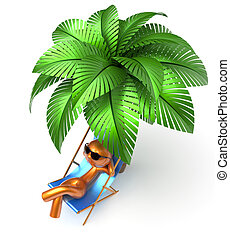 Relaxing chilling man character palm tree beach deck chair