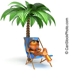 Relaxing man character deck chair palm tree chilling beach